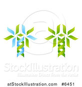 Vector Illustration of Green and Blue DNA Double Helix Trees Shaped like Caduceuses by AtStockIllustration