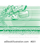 Vector Illustration of Green Arrows on a Green Background by AtStockIllustration