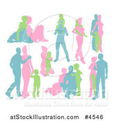 Vector Illustration of Green Blue and Pink Silhouetted Families by AtStockIllustration
