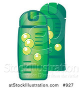 Vector Illustration of Green Bottles of Shampoo and Conditioner for Hair by AtStockIllustration