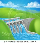Vector Illustration of Green Energy Hydroelectric Dam in a Hilly Landscape by AtStockIllustration