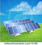 Vector Illustration of Green Energy Solar Panels in a Hilly Landscape by AtStockIllustration