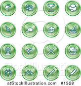 Vector Illustration of Green Fishing, Hockey, Trophy, Baseball, Golfing, Racing, Ice Skating, Skiing, Cricket, and Cycling Sports Icons by AtStockIllustration