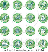 Vector Illustration of Green Icons: Apartments, Handshake, Real Estate, House, Money, Classifieds, Brick Laying, Businessman, Hardhat and a Key by AtStockIllustration