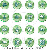 Vector Illustration of Green Icons: Music Notes, Guitar, Clapperboard, Atom, Microscope, Atoms, Messenger, Painting, Book, Circus Tent, Globe, Masks, Sports Balls, and Math by AtStockIllustration