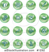 Vector Illustration of Green Icons of Medicine, Science, and Biology by AtStockIllustration