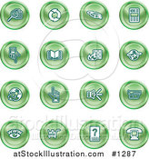 Vector Illustration of Green Icons of Security Symbols on a White Background by AtStockIllustration