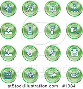 Vector Illustration of Green Icons: Www, Connectivity, Networking, Upload, Downloads, Computers, Messenger, Printing, Clapperboard and Email by AtStockIllustration