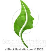 Vector Illustration of Green Leaf and Profiled Face by AtStockIllustration