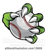 Vector Illustration of Green Monster Claw Holding a Baseball by AtStockIllustration