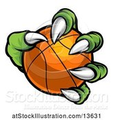 Vector Illustration of Green Monster Claw Holding a Basketball by AtStockIllustration