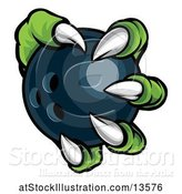 Vector Illustration of Green Monster Claw Holding a Bowling Ball by AtStockIllustration