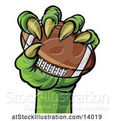 Vector Illustration of Green Monster Claw Holding a Football by AtStockIllustration
