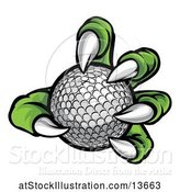 Vector Illustration of Green Monster Claw Holding a Golf Ball by AtStockIllustration