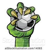 Vector Illustration of Green Monster Claw Holding a Soccer Ball by AtStockIllustration