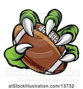 Vector Illustration of Green Monster Claw Holding an American Football by AtStockIllustration