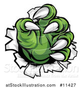 Vector Illustration of Green Monster Claws Ripping Through Metal with Sharp Talons by AtStockIllustration