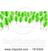 Vector Illustration of Green Party Balloons Background by AtStockIllustration