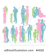 Vector Illustration of Green Pink and Blue Silhouetted Parents with Young Children by AtStockIllustration