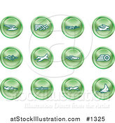 Vector Illustration of Green Speed Icons: Email, Runner, Super Hero, Rabbit, Jet, Bird, Race Car, Tire, Lightning Bolt, Rocket, Cheetah and Sailboat by AtStockIllustration