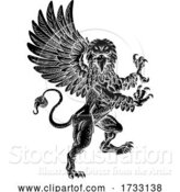 Vector Illustration of Griffin Rampant Gryphon Coat of Arms Crest Mascot by AtStockIllustration
