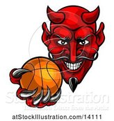 Vector Illustration of Grinning Evil Red Devil Holding out a Basketball in a Clawed Hand by AtStockIllustration