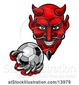 Vector Illustration of Grinning Evil Red Devil Holding out a Soccer Ball in a Clawed Hand by AtStockIllustration