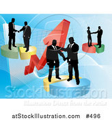 Vector Illustration of Groups of Businessmen Shaking Hands on Deals on Pie Charts, Increasing Revenue for the Company by AtStockIllustration