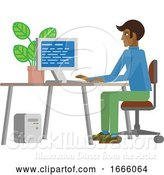 Vector Illustration of Guy Working at Desk in Business Office by AtStockIllustration