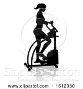 Vector Illustration of Gym Lady Silhouette Elliptical Cross Fit Machine by AtStockIllustration