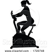 Vector Illustration of Gym Lady Silhouette Stationary Exercise Spin Bike by AtStockIllustration