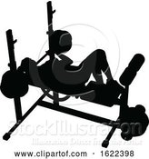 Vector Illustration of Gym Lady Silhouette Weights Bench Barbell by AtStockIllustration