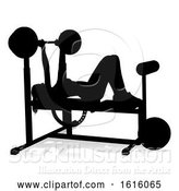 Vector Illustration of Gym Lady Silhouette Weights Bench Barbell, on a White Background by AtStockIllustration
