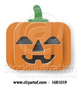 Vector Illustration of Halloween Cute Pumpkin in Papercraft Style by AtStockIllustration