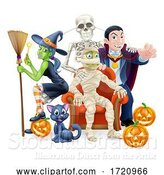 Vector Illustration of Halloween Fun Family or Friends Group by AtStockIllustration