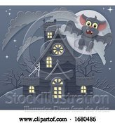 Vector Illustration of Halloween Haunted House and Bat Scene by AtStockIllustration