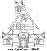 Vector Illustration of Halloween Haunted House in Outline by AtStockIllustration