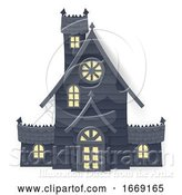 Vector Illustration of Halloween Haunted House Papercraft Style by AtStockIllustration