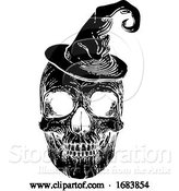 Vector Illustration of Halloween Skull in Witch Hat by AtStockIllustration