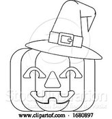 Vector Illustration of Halloween Witch Hat Pumpkin in Outline by AtStockIllustration