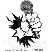 Vector Illustration of Hand Holding Microphone Breaking Background by AtStockIllustration