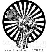 Vector Illustration of Hand Holding Microphone by AtStockIllustration