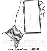 Vector Illustration of Hand Holding Mobile Phone Vintage Style by AtStockIllustration
