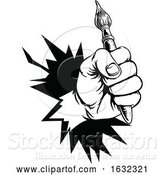 Vector Illustration of Hand Holding Paintbrush Breaking Background by AtStockIllustration