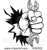 Vector Illustration of Hand Holding Spanner Wrench Breaking Background by AtStockIllustration