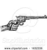 Vector Illustration of Hand Holding Western Pistol Gun Revolver by AtStockIllustration