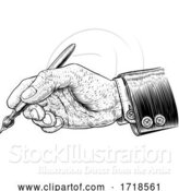 Vector Illustration of Hand in Business Suit Holding Artists Paintbrush by AtStockIllustration