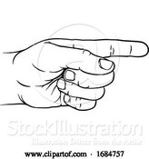 Vector Illustration of Hand Pointing Direction Finger Engraving Woodcut by AtStockIllustration