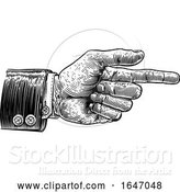 Vector Illustration of Hand Pointing Finger Direction in Business Suit by AtStockIllustration