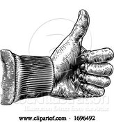 Vector Illustration of Hand Thumb up Sign Vintage Retro Woodcut by AtStockIllustration